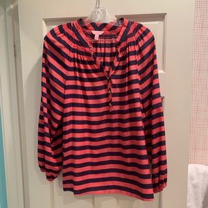 Lilly Pulitzer long sleeve coral&navy silk blouse